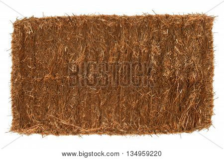 Single Hay bale - isolated on white