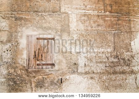 Rough stone and wood abstract background wall texture with copy space.