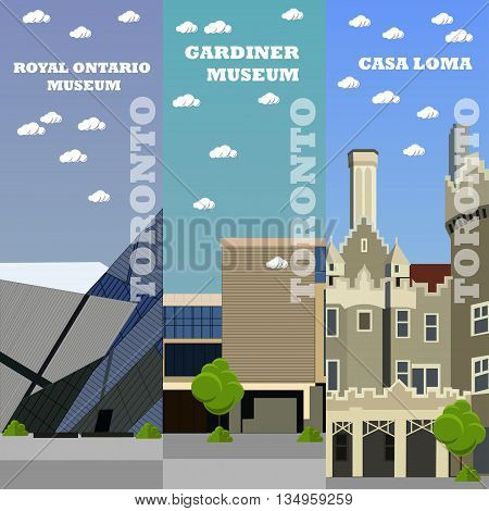 Toronto tourist landmark banners. Vector illustration with Canada famous buildings.