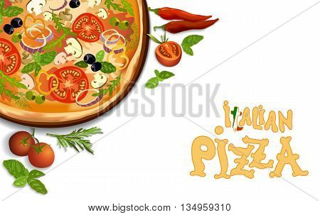 Pizza with mushroom and tomato, chilli, herbs on board on white background isolated. corner design for pizza menu or pizzeria interior design. Text italian pizza. Vector illustration stock vector.