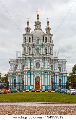 Russia St. Petersburg. Smolny Cathedral (Church of the Resurrection)