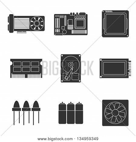 Electronic parts icons. Vector illustration, EPS 10