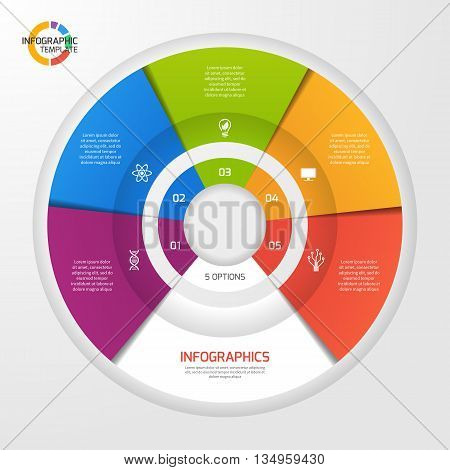 Vector circle infographic template for graphs charts diagrams. Pie chart concept with 5 options parts steps processes.