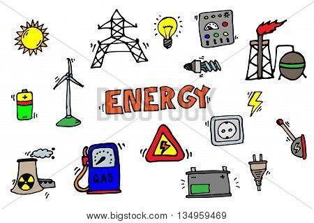 Hand drawn colorful Energy Icons Set. Vector illustration, EPS 10