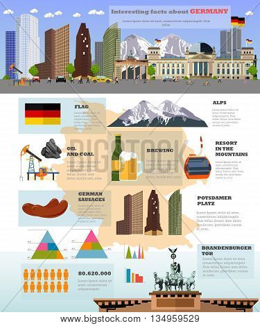 Travel to Germany concept vector illustration. Infographic elements, icons and interesting facts about Germany. German landmarks and destinations.