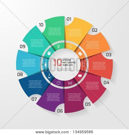 Vector circle infographic template for graphs charts diagrams. Pie chart concept with 10 options parts steps processes.