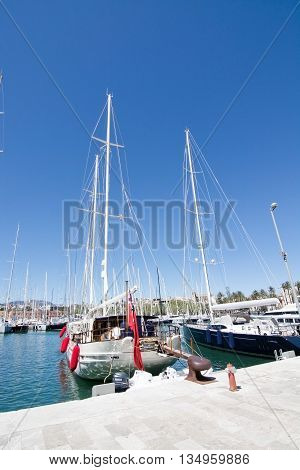 Large Sailing Yachts Moored In Palma Marina