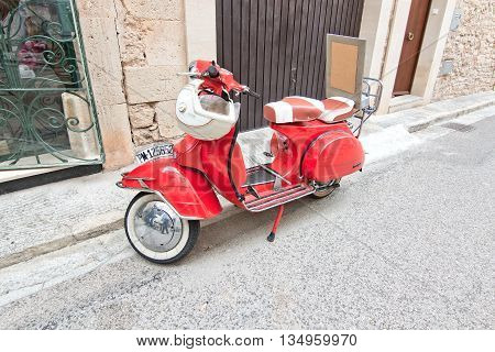 Red Beautiful Vintage Vespa