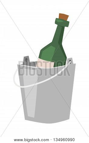 Champagne bottle in bucket with ice and glasses of champagne isolated on white. Alcohol champagne bucket bottle party cooler cold ice. Metal luxury gold vector champagne bucket romantic sign.