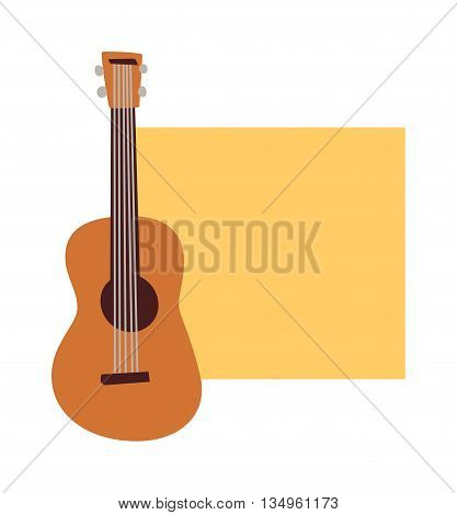 Musician concert show poster with acoustic guitar vector illustration. Music concert poster advertising sound musician guitarist symbol. Music concert poster rock guitar event festival.