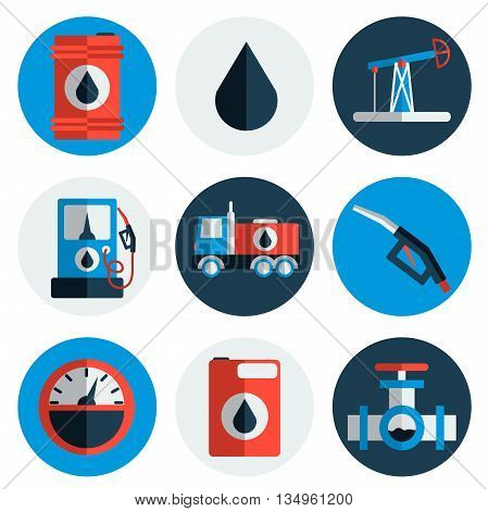 Gas trade vector flat icon set. Vector illustration, EPS 10