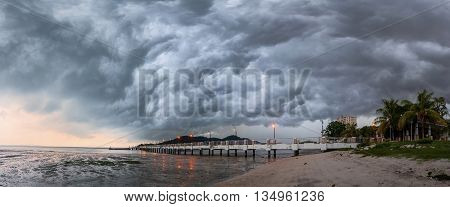 Panorama View of storm in Jerejak Jetty, George Town Penang