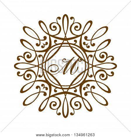Business M sign monogram logo and badge emblem line vector illustration. Emblem line monogram luxury badge logo template flourishes calligraphic M elegant ornament lines vector.