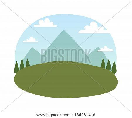 Outdoor landscape nature vector background. Outdoor landscape mountain forest beautiful environment. Summer green outdoor natural park landscape. Scenery summer season adventure.