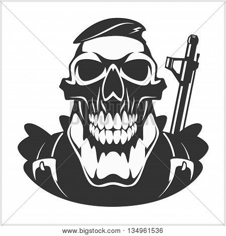skull - face of military man with automatic gun