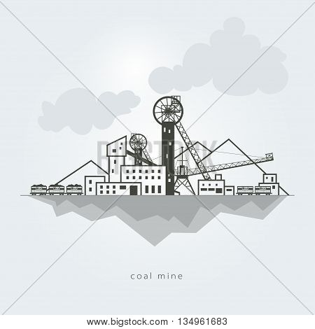 Coal mine with waste heaps and with rail cars