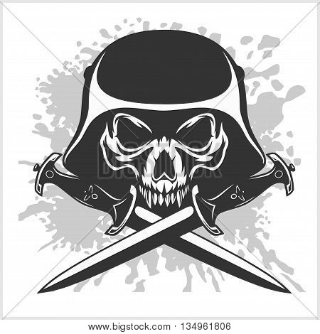 Skull with helmet and cross swords on white