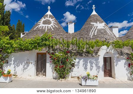 Beautiful town of Alberobello with trulli houses among green plants and flowers main turistic district Apulia region Southern Italy