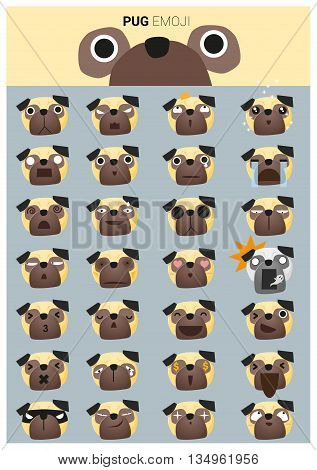 Pug emoji icons , vector , illustration