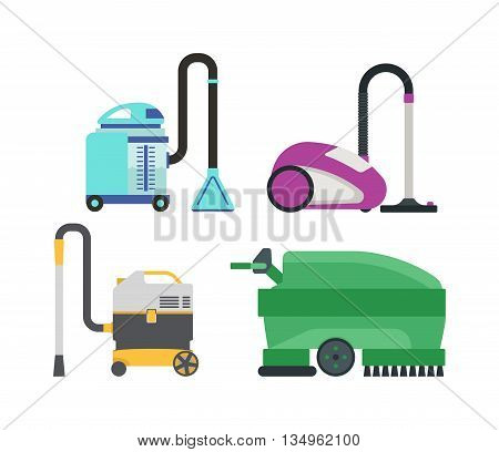 Set of different vacuum cleaners vector illustration. Vacuum house appliance housework tool.