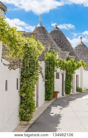 Beautiful town of Alberobello with trulli houses main turistic district Apulia region Southern Italy