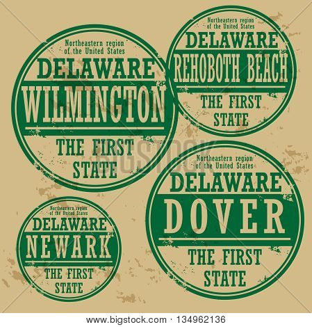 Grunge rubber stamp set with names of Delaware cities, vector illustration