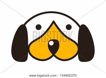 puppy head getting out in front of white background. Domestic purebred pup pedigree adorable puppy head portrait. Terrier small doggy puppy head young animal character.