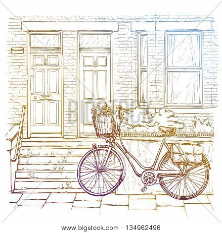 Hand drawn sketch of bicycle on the street, old town. Vector illustration