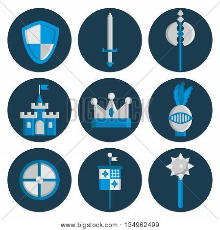 Knight symbols and elements vector set. Medieval kingdom legendary armored knight symbols warrior with lance and knight symbols attributes flat icons set abstract isolated vector.