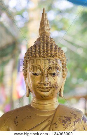 Face Of Golden Buddha Sculpture, Thailand.