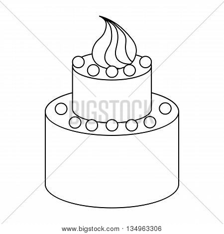 Two tier birthday cake icon in outline style on a white background