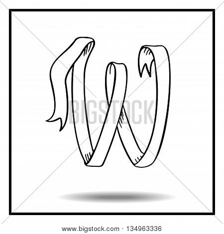 Ribbon alphabet. Ribbon letter. Ribbon W. Display ribbon font. Sketch ribbon latter W.
