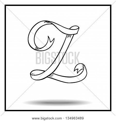 Ribbon alphabet. Ribbon letter. Ribbon Z. Display ribbon font. Sketch ribbon latter Z.
