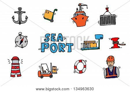 Sea port colorful icons set with ships and marine transport isolated vector illustration