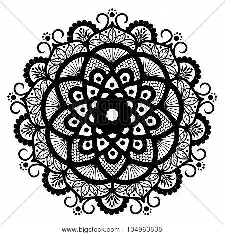 Vector Beautiful Deco Monochrome Contour Mandala, Patterned Design Element, Ethnic Amulet