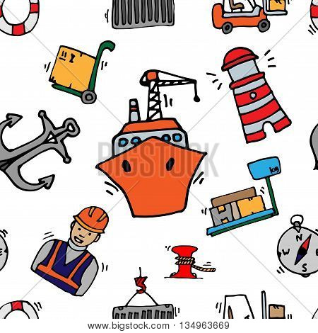 Sea port colorful icons pattern with ships and marine transport isolated vector illustration