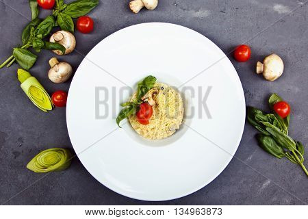 Beautiful Risotto With Mushroom, Tomatoes Cherry And Basil