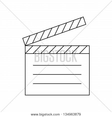 Movie clapper icon in outline style on a white background