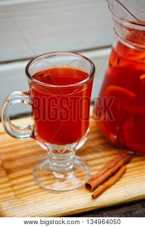 Fresh Cold Strawberry Tea With Ice And Cinnamon