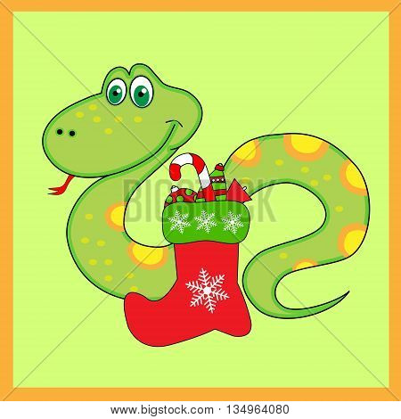 The green snake of with Christmas Boots