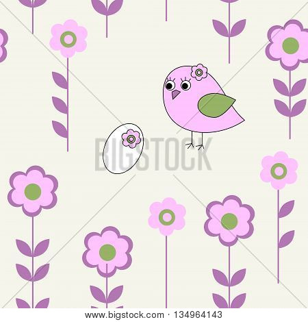 The seamless pattern with a pink bird