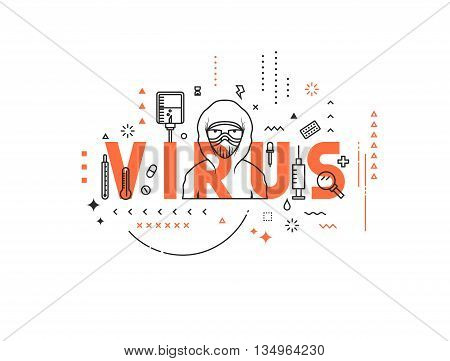 Design concept epidemic of virus. Modern line style illustration. Concepts of words virus, style thin line art, design banners for website and mobile website. Easy to edit.
