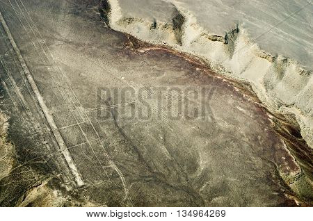 Geoglyphs and lines in the Nazca desert. UNESCO World Heritage Site - Peru South America