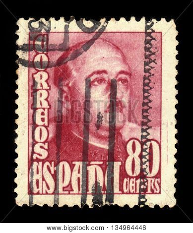 SPAIN - CIRCA 1948: A stamp printed in Spain shows a portrait of General Francisco Franco (1892-1975), red, series