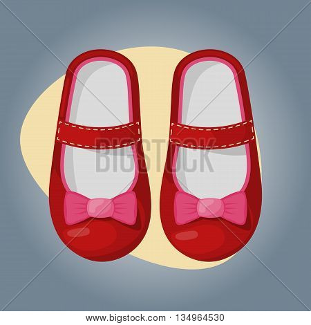 Illustration of beautiful baby girl shoes colorful icon
