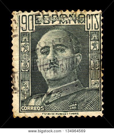 SPAIN - CIRCA 1949: A stamp printed in Spain shows a portrait of General Francisco Franco (1892-1975), series