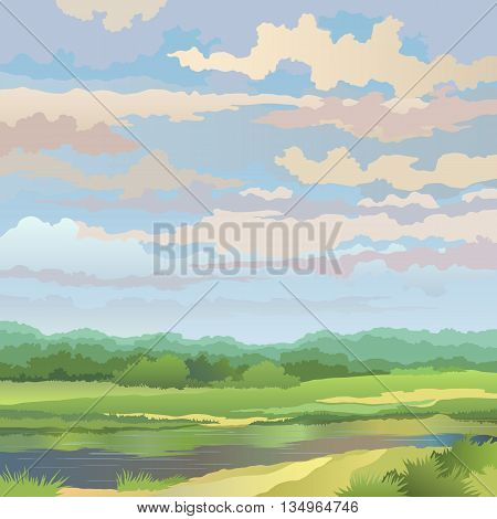 Summer landscape with river and meadow against the sky