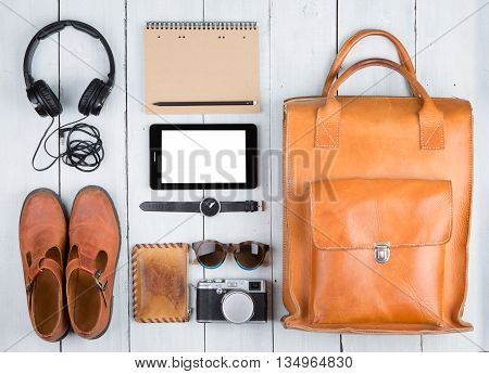 Travel Concept - Tablet Pc, Clothes, Headphones, Camera, Shoes, Watch And Bag