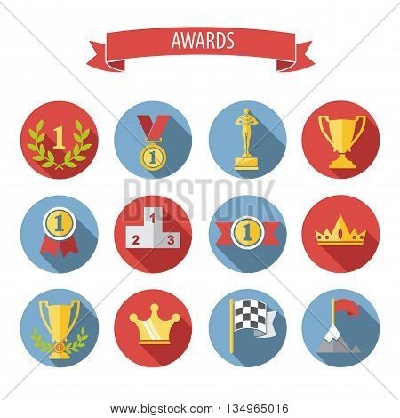 set of white vector award success and victory flat icons on colorful round web buttons with trophies cups ribbons crown diadem medals medallions wreath and a podium