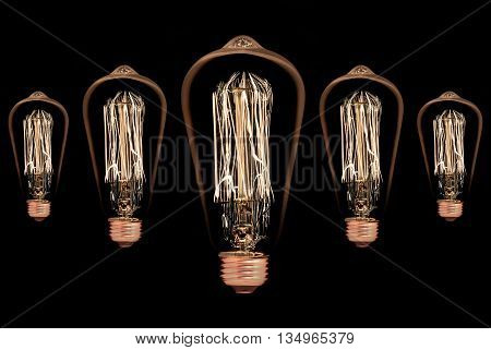 Incandescent light bulb isolated on black background